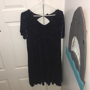Torrid blue crushed velvet dress